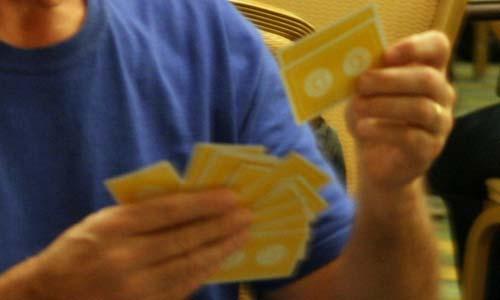 bridge players arranging hands